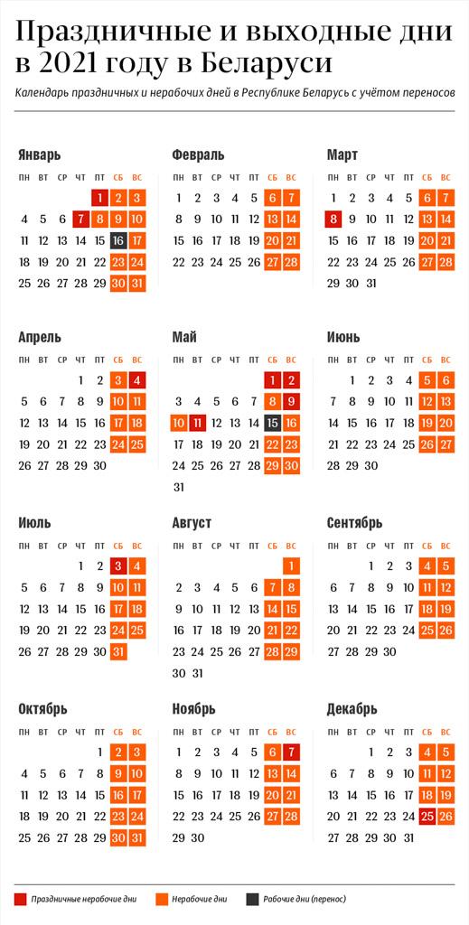 Утверждены переносы рабочих дней в 2021 году